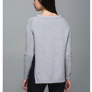 LULULEMON Gray Knit Side Slit Wool Crew Sweater
